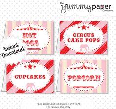 DIY Printable Circus Party Signs