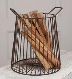 Farmhouse Storage Ideas, wire firewood basket | DuctTapeAndDenim.com