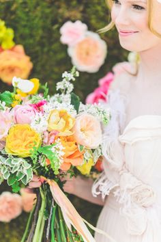 Pink, peach and yellow wedding bouquet: http://www.stylemepretty.com/2014/08/11/bright-love-in-bloom-wedding-inspiration/ Photography: Paper Antler - http://www.paperantler.com/