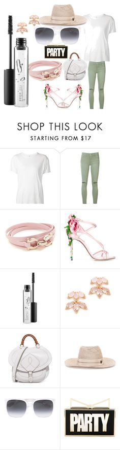 """party set sale"" by denisee-denisee ❤ liked on Polyvore featuring R13, Joe's Jeans, Salvatore Ferragamo, Dolce&Gabbana, MAC Cosmetics, Kate Spade, Maison Margiela, Maison Michel, Gucci and Sara Battaglia"