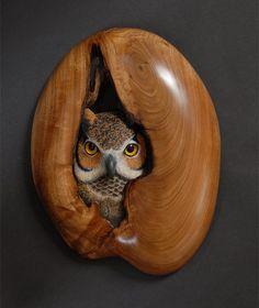 Art Sculpture, Animal Sculptures, Owl Bird, Bird Art, Wood Carving Art, Wood Carvings, Owl Crafts, Art Carved, Carved Wood