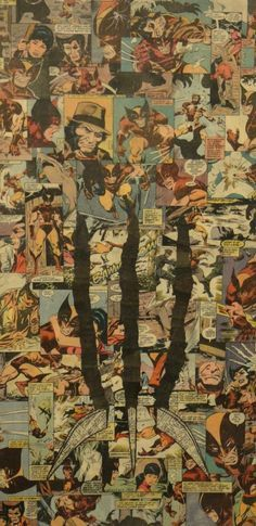 Wolverine, Iron Man, Flash, Superman, Spider Man, and Hulk collages by Mike Alcantara