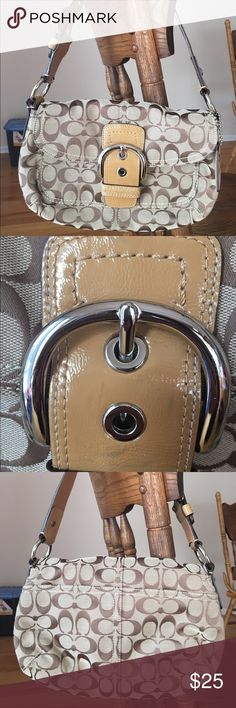 Coach Single flap purse Beautiful Coach purse in great condition! Used only a handful of times over the years. Some cosmetic scuffs/color transfer on the front buckle. Comes from a smoke free home! Coach Bags Shoulder Bags
