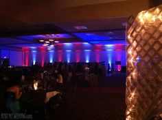 Fabulous @RentMyWedding uplighting adds pizzazz to this red  blue themed #corpevent.