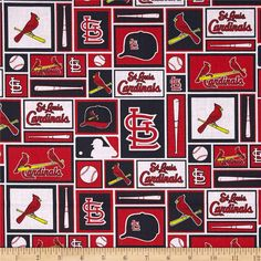 MLB Cotton Broadcloth St. Louis Cardinals Black/Red from @fabricdotcom  Cheer on the St. Louis Cardinals, your favorite MLB team with this MLB cotton broadcloth fabric. Perfect for use in quilting projects, craft projects and even apparel. Licensed by the MLB, this fabric is for for personal consumption and not for commercial use. Colors include black, white, red, and yellow.