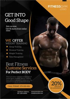 Get Into Shape Fitness Free Flyer Template Free Psd Flyer Templates, Flyer Free, Shape Fitness, Fitness Design, Fitness Flyer, Free Fitness, Personal Trainer, Creation Flyer, Banners