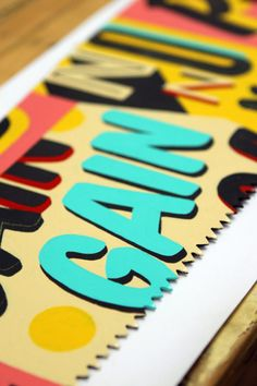 allomambomambo: Hand-painted typography on vintage saws.By...