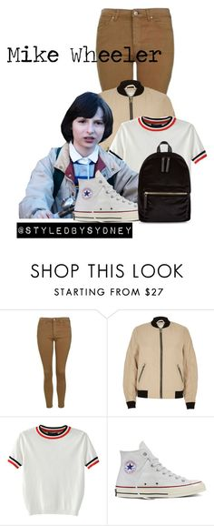 """""""Mike Wheeler ; STRANGER THINGS"""" by styledbysydney ❤ liked on Polyvore featuring River Island, WithChic, Converse and New Look"""