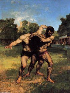 'Die Wrestler', öl auf leinwand von Gustave Courbet (1819-1877, France)