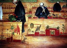 Tampere cathedral: The Garden of Death (Hugo Simberg, Nicholas Roerich, Frank Stella, Merian, Alexander Calder, Rene Magritte, Piet Mondrian, Tattoos Gallery, Claude Monet, Banksy