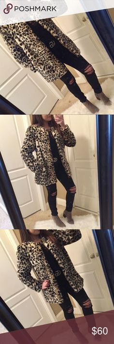 Cheetah print faux fur coat Cheetah print / leopard print faux fur coat Cheetah print is definitely in style again!!  My favorite coat of all time!! Perfect for cold weather! Hook and clasp closure  Collarless 2 side pockets Brand new without tags Jackets & Coats