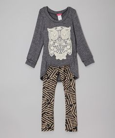 Look what I found on #zulily! Charcoal Owl Tunic & Leggings - Toddler & Girls #zulilyfinds