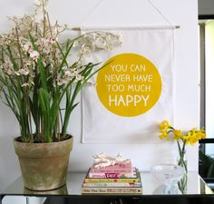 Screen printed wall hangings to make you smile by Simone Duckworth of Honey and Fizz