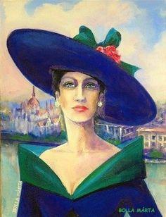 Confident Hungarian lady - Magabiztos magyar hölgy - Acrylic on canvas - 24 x 18 cm - by Márta Bolla - Hungary Portraits, Paintings, Album, Women, Hat, Paint, Head Shots, Painting Art, Painting