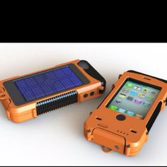 Aqua Tek S - The powerful iPhone case...   Very tough polycarbonate case with a built-in Lithium battery and a solar cell... (useful if you are in the middle of nowhere).
