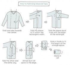 An illustration on how to fold a long sleeve shirt like a pro.  Spark Joy by Marie Kondo showing how to fold a long-sleeve shirt fast the KonMari way.