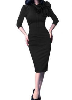 Black Three Quarter Sleeve Sheath Dress on sale only US$25.01 now, buy cheap Black Three Quarter Sleeve Sheath Dress at modlily.com