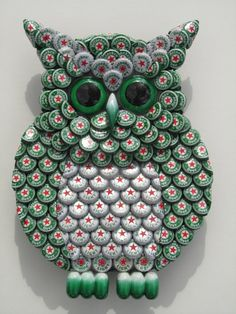Metal Bottle Cap Green Heineken Owl Wall Art by EricsEasel