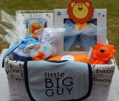 Premium Little Big Guy Baby Boy Gift Basket / READY TO SHIP / Lion Baby Shower Theme / Unique Baby Gift / Baby Shower Gift Ideas / Animals by ColorfulBows on Etsy www.colorfulbows.com