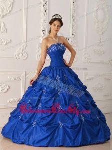 Dark Blue Ball Gown Strapless Floor-length Taffeta Appliques and Beading Quinceanera Dress