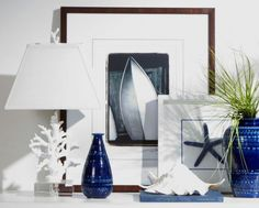 Nautical living room display navy white 600x483