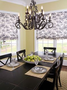 Black French Dining Room Table | Black Toile French Country Dining Room