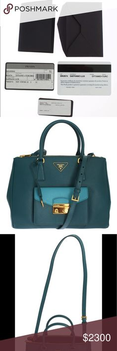 Prada Saffiano Lux Bag (Teal, Turquoise) INCLUDES: ORIGINAL DUSTBAG, BOOKLET, AUTHENTICITY CARD, CLOCHETTE WITH Key  Model: BN2674 NZV F0POK Material: 100% Calf Leather  Color: Teal(Blue), Turquoise(Blue) Exterior Pockets: One flap pocket with press-lock Interior Pockets: One zip pocket, three flat pockets  Handles: Double rolled leather top handles and a removable, adjustable long leather strap  Interior Lining: Fine jacquard textile lining   Origin: Italy   Measurements: 35cm x 24cm x 15cm…