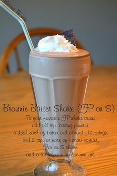 Brownie Batter Shake (FP) - a quick, on-the-go shake.  Visit the blog post for links to basic shake recipes.
