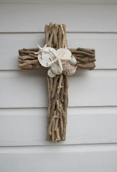 Driftwood Seashell Cross/Beach Wedding Cross ~by My Honeypickles