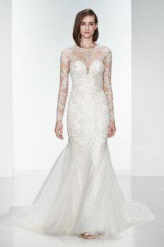Beautiful mermaid wedding dress with long sleeves. Kenneth Pool, Fall 2015