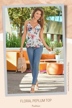 💥 FLORAL PRINT PEPLUM TOP - SURPLICE STYLE Let the graceful peplum graze over your hips while the under-bust band accentuates your assets! This adjustable strap, floral top evokes thoughts of simple spring and summer days when looking good is effortless. The plunging neckline, exposed back, and surplice styling make this peplum top an easy choice to wear alone or with ... #Fashion #tops #outfit #womenswear #womensclothing #clothing #clothes #shoppingonline #chic #apparel #shopping Cute Fashion, Fashion Outfits, Fashion Ideas, Womens Fashion, Casual Outfits, Cute Outfits, Denim Outfits, Colored Skinny Jeans, Boho Look