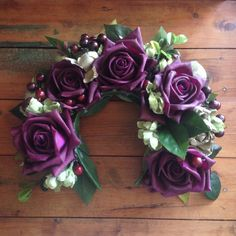 Dark Purple and Green Large Flower Crown
