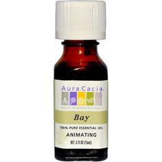 Aura Cacia, 100% Pure Essential Oil, Bay, Animating, 0.5 fl oz (15 ml) - iHerb.com