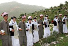Yazidis, a religious minority centered in the Iraqi Kurdistan region, wear traditional clothes.