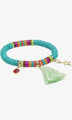 charm, tassel and sequin stretch bracelet