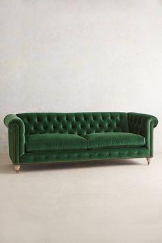 Anthropologie Velvet Lyre Chesterfield Sofa, Wilcox #anthropologie #green #sofa #home
