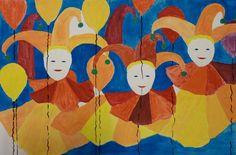 dit schilderij heeft het kleur tegen kleur contrast. hij heeft blauw, geel, rood en oranje gebruikt. alles is 1 kleur dus niks met licht inval of donker/schaduw. er zijn het meest zuivere kleuren gebruikt.