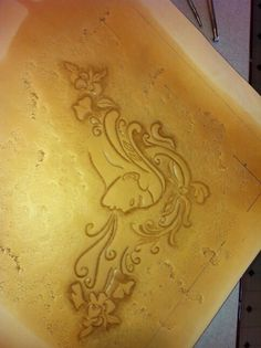 Tooled leather for table