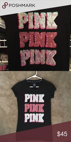 VS Pink shirt VS Pink shirt, size small. Includes sequins, super cute! Brand new without tags PINK Victoria's Secret Tops Tees - Short Sleeve