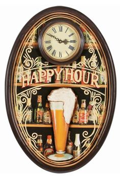 Ram Game Room Happy Hour Clock - R822