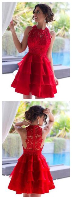 Red Homecoming Dress,High Neck Homecoming Dress,Unique Homecoming