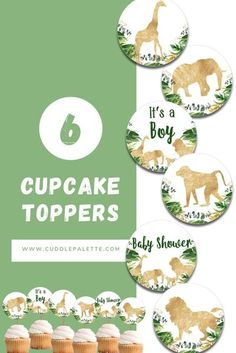 Decorate your desserts! Adding up these cute Gold Safari Baby Shower Cupcake Toppers. Lion, Giraffe, Elephant, Monkey and more! #BabyShower #GoldSafari #Animal #JungleSafari