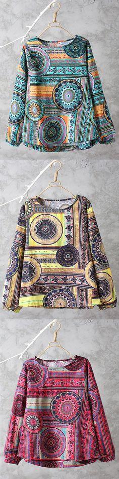 O-NEWE Loose Printed Long Sleeves Shirts For Women