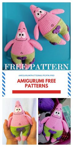 We share the most beautiful patterns of Amigurumi with you. In this article, amigurumi patrick star free pattern is waiting for you. Crochet Amigurumi Free Patterns, Crochet Animal Patterns, Crochet Dolls, Free Crochet, Knitting Patterns, Knit Crochet, Crochet Crafts, Crochet Projects, Kawaii Crochet