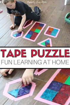 This fun learning activity for preschoolers is SO simple to set up and SO fun to play! Just grab some blocks and tape and we& show you EXACTLY how to set this up as an engaging math activity for your little one. No worksheet required. Toddler Activity Board, Preschool Learning Activities, Preschool At Home, Home Learning, Preschool Math, Toddler Preschool, Early Learning, Fun Learning, Toddler Activities
