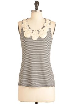 Around the Swirl Top - Mid-length, White, Stripes, Cutout, Flower, Tank top (2 thick straps), Black