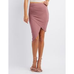 Charlotte Russe Wrapped Tulip Skirt ($20) ❤ liked on Polyvore featuring skirts, rose taupe, wrap skirt, charlotte russe, ruched asymmetrical skirt, taupe skirt and rose skirt