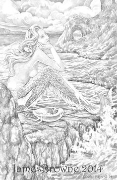 awaiting love mermaid coloring page printable by brownieman