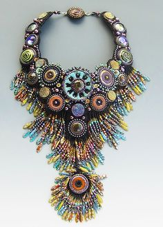 bead embroidered necklace by Sherri Serafini