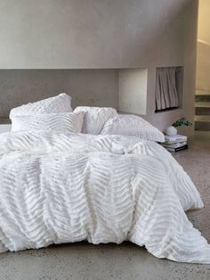 Drift White Quilt Cover Set by Linen House. Get it now or find more Quilt Cover Sets at Temple & Webster. White Duvet Covers, Bed Covers, Modern Duvet Covers, Ikea, Zara Home, Master Suite, Master Bedroom, Dream Bedroom, Pottery Barn